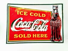 Vintage Coca Cola Sign Tin Coca Cola Sold Here Advertising Sign For Collectors
