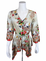 Tolani Collection Printed Top with Handkerchief Hem White Floral X-Large Size