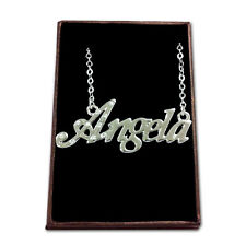 White Gold Plated Name Necklace - ANGELA - Gift Ideas For Her - Engagement Xmas