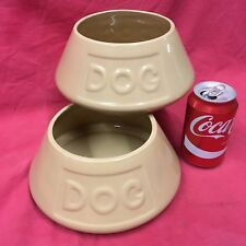 "2 x Dog Puppy Pot Ceramic Bowl 8"" Ceramic Tapered Anti Spill Water Food Spaniel"