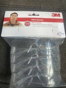 3M Impact-Resistant Safety Glasses Clear Lens Clear Frame 4 pk (90834)