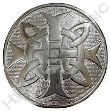 """HM Men's Cross Round Kilt Belt Buckle Chrome Finish 3""""/Celtic Belt Buckles"""