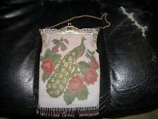 Antique Vintage Micro Beaded Purse Bag Peacock Scenic Silver Frame