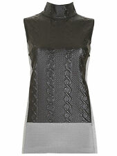 Ladies Quilted Top Sleeveless Vest Funnel Collar Polo Neck Grey Metallic Blouse