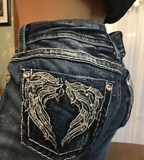 "MISS ME BOOTCUT BLUE CAPRI JEANS TAG 29 BLING ANGEL WING BACK POCKETS 30"" X 23"""