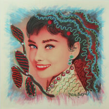 "MARIA MURGIA ""Audrey Hepburn"" CM 30X30 pezzo unico dipinto su cartoncino"