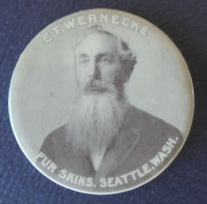 EARLY SEATTLE WASH.  ADVERTISING MIRROR  C.T. WERNECKE   FUR SKINS    PICTORAL