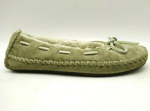 LL Bean Taupe Suede Faux Fur Lined Deck Boat Lounge Slippers Shoes Women's 5 M
