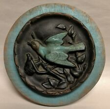 Unique Turquoise & Black Bird on a Tree Limb Wall Plaque Decor