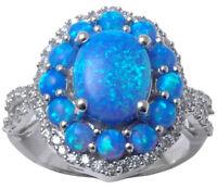 Blue Opal Gemstone 925 Sterling Silver Wonderful Women Fashion Ring Jewelry