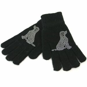 Knitted Ladies/Girls Gloves with Sparkly Silver Dog Motif
