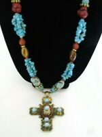 "Long Necklace 3.5"" Cross Pendant Blue Red Beads Gold Tone 37"" Bohemian Style"