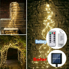 LED Waterfall Tree Vines Fairy String Copper Wire Light Xmas Party Battery Solar