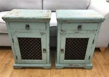 PAIR OF BEDSIDE CABINETS, SOLID WOOD & METAL LATTICE-IDEAL STAY AT HOME PROJECT