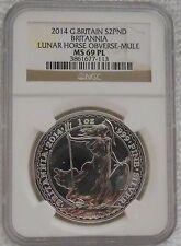 2014 Britannia Error Lunar Horse Obverse Mule 1 oz. Silver Coin NGC MS69 PL wCOA