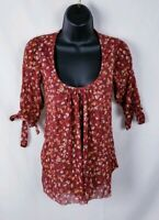 Nordstrom Daisy and Clover Floral Mesh Top Size Small Blouse