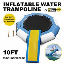 10Ft Inflatable Water Trampoline with Bouncer Slide Ladder & Slideway Platform