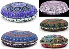 5 Pc Wholesale Elephant Mandala Floor Pillow Round Tapestry Indian Cushion Cover