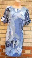 NEXT BLUE ABSTRACT ART SHORT SLEEVE OVERSIZED BAGGY TUNIC SMOCK TEA DRESS 6 8 XS