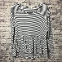 Eyeshadow Striped Peplum Long Sleeve Black White Top Shirt Small Ribbed