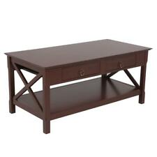 Wood Coffee Table Table Rectangle w/ Drawer Storage Shelf Living Room