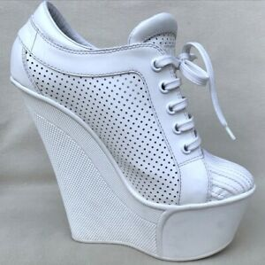 Auth Louis Vuitton Pumps Limited Edition Wedge Shoes Low Boots Ivory EU 35/US 5