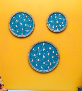 Blue wooden wall decor plates - set of 3 hand painted wood plate home decor art