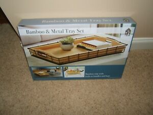 Mesa Bamboo & Metal Tray Set with Built-In Handles and Legs 1338382
