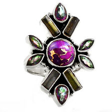 Copper Purple Turquoise 925 Sterling Silver Ring Jewelry s.7 SR214441