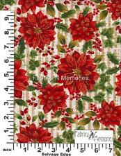 French Poinsettia Christmas Fabric F931 Michael Miller BY THE HALF YARD