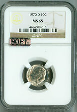 1970 D NGC MAC 90% FT MS65 Roosevelt Dime, White!