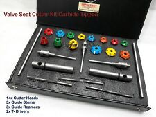 Motorcycles Heads Valve Seat Cutter Set CARBIDE TIPPED with Guide Stem Reamers