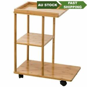 Bamboo Table Portable Coffee Side Table Cart With Wheels Food Car Trolley Table