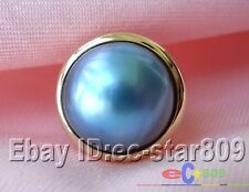14K GOLD HUGE REAL 8# 20MM BLUE SOUTH SEA MABE PEARL RING p789