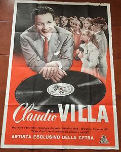 POSTER AFFICHE ORIGINALE PROMOZIONALE 1957 CLAUDIO VILLA ARTISTA ESCLUSIVO CETRA