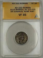 AD 222 Roman Silver Denarius Coin Julia Mamaea Rome Mint ANACS VF-35 AKR