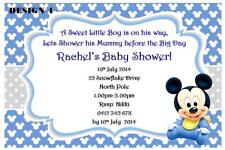 1 x DISNEY MICKEY MOUSE BOY BABY SHOWER PERSONALISED INVITATIONS + MAGNETS