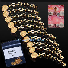 Dental 10Pcs/Pack Orthodontics Traction Round Button Chain Golden Mesh Base