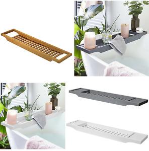 Bamboo Wood Bath Tub Rack Bathroom Shelf Tidy Tray Storage Caddy Organiser Boxed