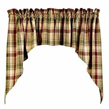 New Country BRANDYWINE Burgundy Sage Green Tan Plaid Cafe Swags Window Curtains