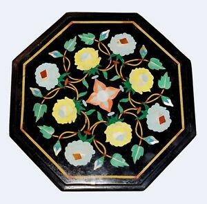 Black Marble Coffee Table Top Turquoise Jasper Floral Inlay Handmade Decors B525