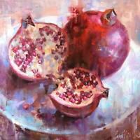 Pomegranate oil painting original art unframed signed impressionism art