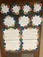 9 Piece Vintage Cutwork Applique Embroidery FLORAL Dresser Scarves/Doilies LINEN