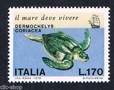 ITALIA UN FRANCOBOLLO SALVAGUARDIA DEL MARE TARTARUGA MARINA 1978 nuovo**