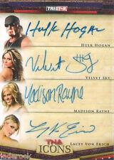 Hulk Hogan Velvet Sky Lacey Von Erich Rayne 2010 TNA Icons Quad Auto graph #1/1