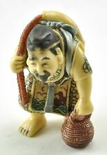 Old Japanese Wealth Deity Fortune Buddha Immortal Resin Statue Fisherman Fish
