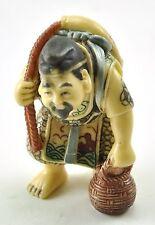Old Japanese Wealth Deity Fortune Buddha Immortal Resin Statue Fisherman Fish
