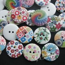 40pcs Mix Printed Flower Wood Buttons Sewing Crafts Accessories 2 Holes NK074