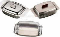 Stainless Steel Butter Dish Tray With Lid Kitchen Storage Container Holder