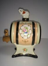 Vtg 1950s The Hinode Japan Porcelain Saki Barrel Keg Elephant Finial Wood Spigot